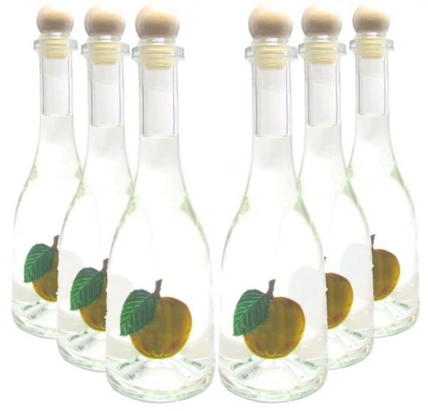 6 Flaschen Prinz Marillenschnaps in Rustikaflasche mit Fruchtmotiv