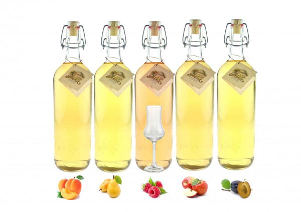 Probierpaket: 5 Flaschen Prinz Alte Sorten 1,0l incl. 1 Kelchglas