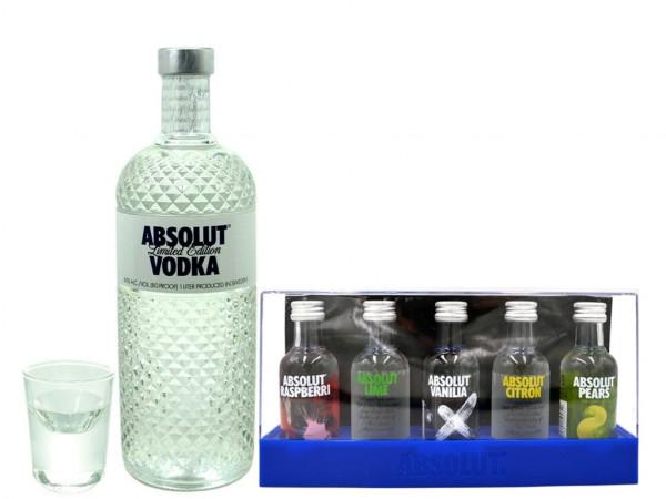 Geschenkidee 20: Absolut Glimmer Vodka 1,0l + Absolut Five 5 x 0,05l + Absolut Shot Glas