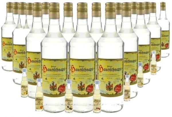 18 Flaschen Prinz Hausschnaps Marille 1,0l mit 7 Miniaturen Alte Sorten - milder Schnaps aus Hörbran