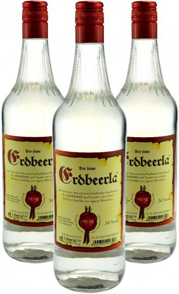 3 Flaschen Prinz Erdbeerla (Erdbeerschnaps) 1,0l aus Österreich
