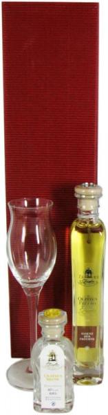 Ziegler Quittenbrand + Ziegler Quittenfruchtessig + Ziegler Glas Geschenkpackung