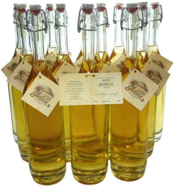 12 Flaschen Prinz Alte Marille 0,5l - im Holzfass gereift aus Österreich in Bügelverschlussflasche