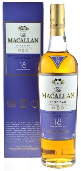 Macallan Whisky 18 Jahre Fine Oak 0,7l mit lila Geschenkpackung