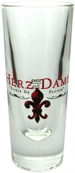 Herzdame Glas 2cl mit Logo