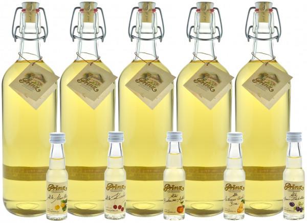 Prinz Alte Wald-Himbeere - 5 Flaschen 1,0l & 5 Miniaturen Prinz Alte Sorten