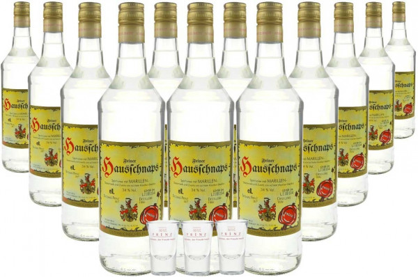 12 Flaschen Prinz Hausschnaps Marille 1,0l + 3 Gläser