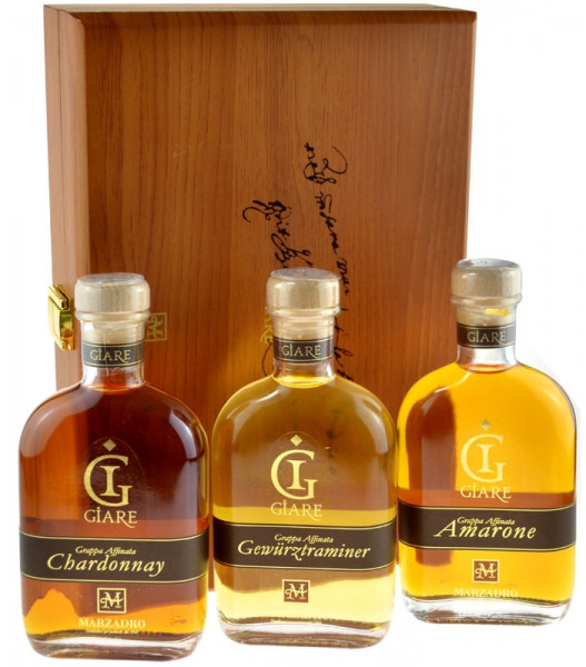 Marzadro Grappa 3x0,2l (Amarone, Chardonnay, Gewürztraminer) in Holzkiste