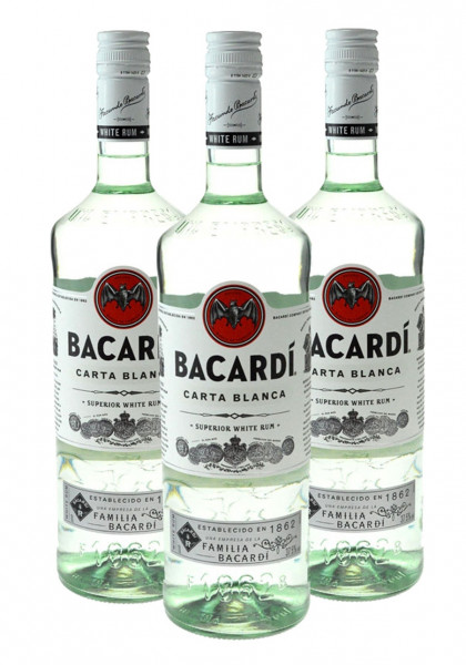 3 Flaschen Bacardi Light Dry 1,0l - weisser Rum