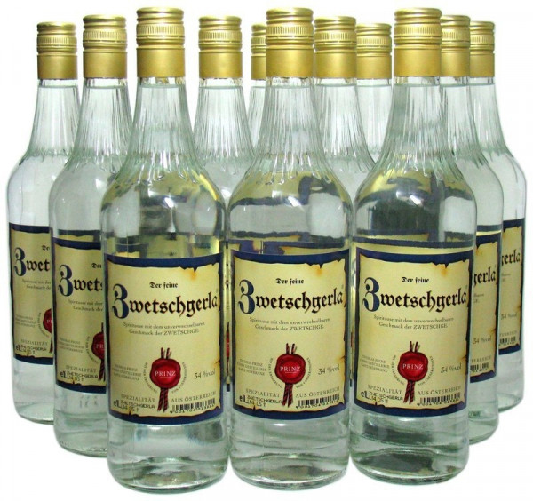 8 Flaschen Prinz Zwetschgerla (Zwetschgenschnaps) 1,0l aus Österreich