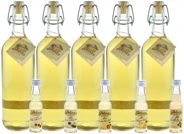 Prinz Alte Marille 1,0l - 5 Flaschen mit 5 Miniaturen Prinz Alte Sorten