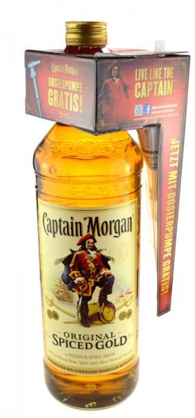 Captain Morgan Spiced Gold Grossflasche mit Dosierpumpe