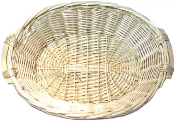 Weidenschale oval mit Holzgriffen