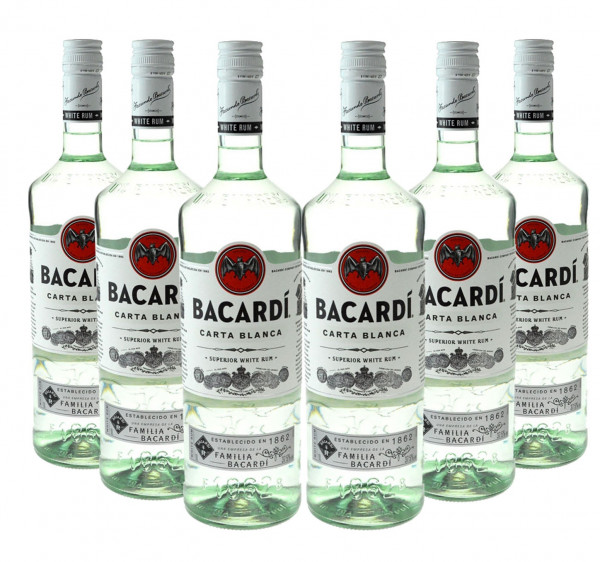 Bacardi Light Dry weißer Rum 6x1,0l
