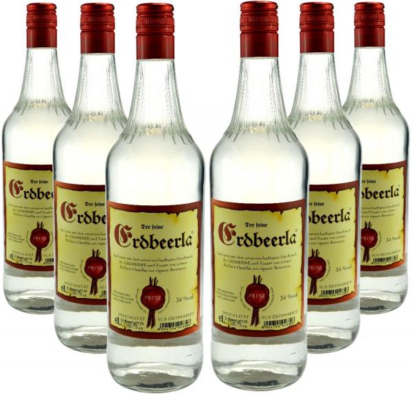 6 Flaschen Prinz Erdbeerla (Erdbeerschnaps) 1,0l aus Österreich