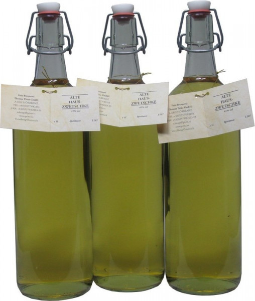 3 Flaschen Prinz Alte Haus-Zwetschke 1,0l - holzfassgereift aus Österreich