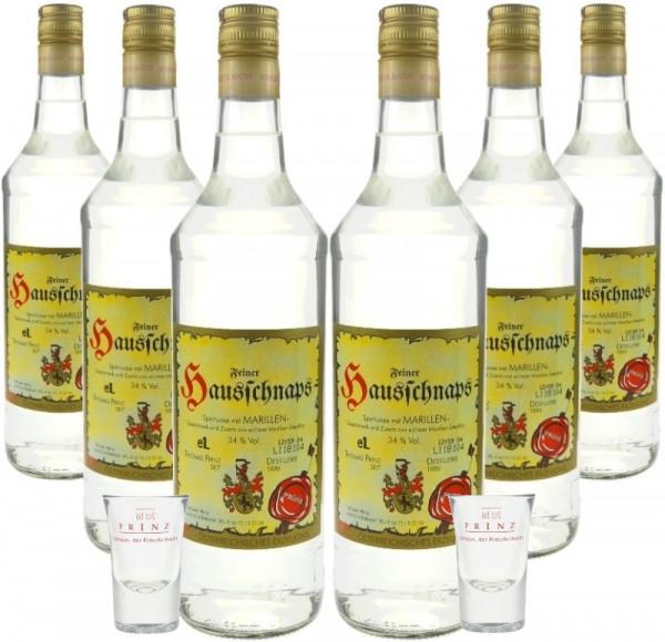 6 Flaschen Prinz Hausschnaps Marille 1,0l & 2 Prinz Stamperl-Gläser