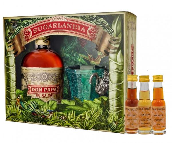 Don Papa Geschenkset - Rum 0,7l + Glas + Vita Dulcis Minis 0,02l (10 Jahre, Masskara, Sherry Cask)