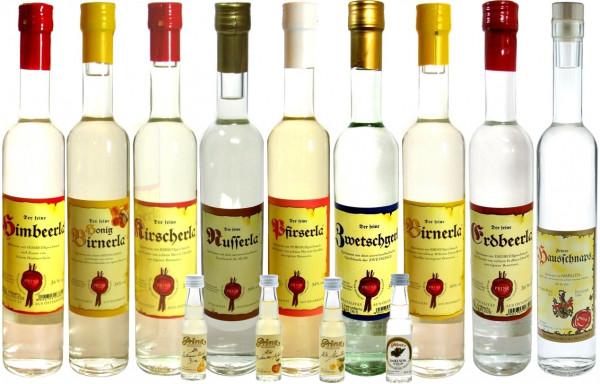 Prinz Probierpaket 1: 9 Flaschen 34%ige Schnäpse 0,5l + 4 Miniaturen (Marille, Birne, Apfel, Nuss) -