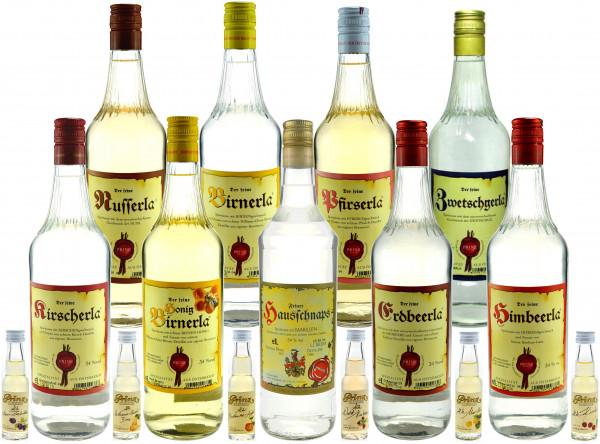Prinz Probierpaket 2: 9 Flaschen 34%ige Schnäpse 1,0l + 6 Miniaturen 0,02l alte Sorten (Marille, Bir