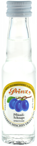 Prinz Pflümli-Schnaps 0,02l Miniatur - Spirituose aus Österreich