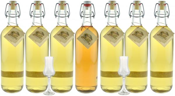 Probierpaket mit 7 Flaschen Prinz Alte Sorten 1,0l & 2 Kelchgläser