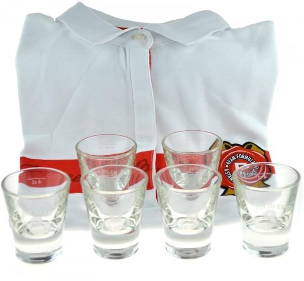 Geschenkidee 29: Jim Beam Poloshirt Damen + 6 Jim Beam Perfect Dram Gläser