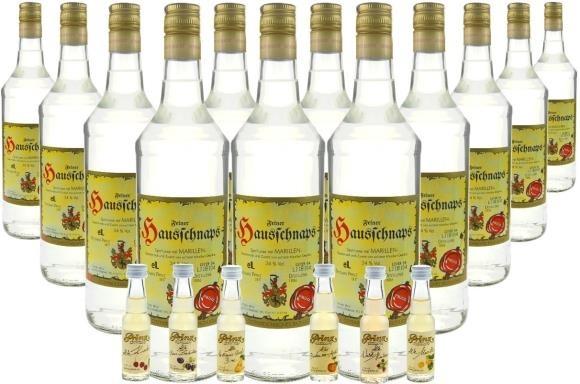 30 Flaschen Prinz Hausschnaps Marille 1,0l mit 6 Miniaturen 0,02l im Holzfass gereift ( Marille, Apf