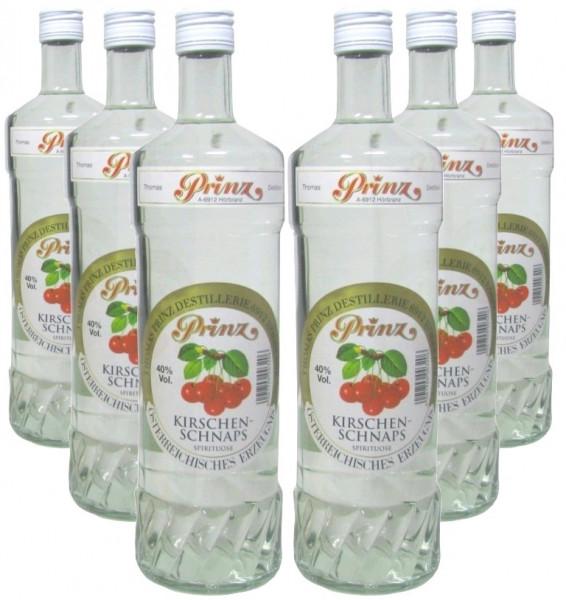 6 Flaschen Prinz Kirschenschnaps 1,0l - Spirituose aus Österreich - 4,8% Rabatt