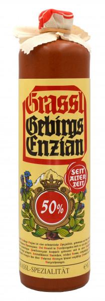Grassl Gebirgs-Enzian 50% vol., Steinkrug 0,7l
