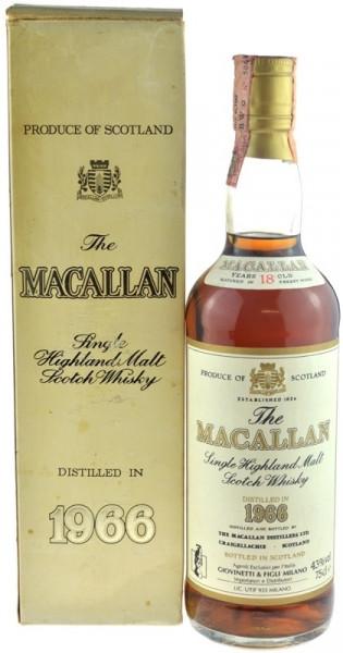 Macallan Whisky 0,7l Jahrgang 1966 - 18 Jahre alt mit Geschenkkarton - Single Highland Malt Scotch