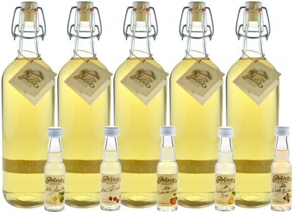 Prinz Alte Haus-Zwetschke - 5 Flaschen 1,0l & 5 Miniaturen Prinz Alte Sorten