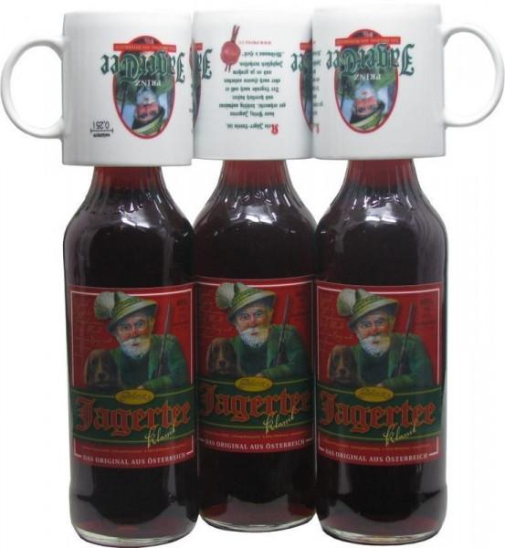 3 Flaschen Prinz Jager-Tee 40% vol. 1,0l + 3 Jagertee-Tassen 0,25l - Original Jagatee aus Österreich