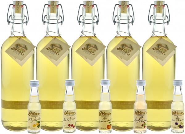 Prinz Alte Williamsbirne 1,0l - 5 Flaschen & 5 Miniaturen Prinz Alte Sorten