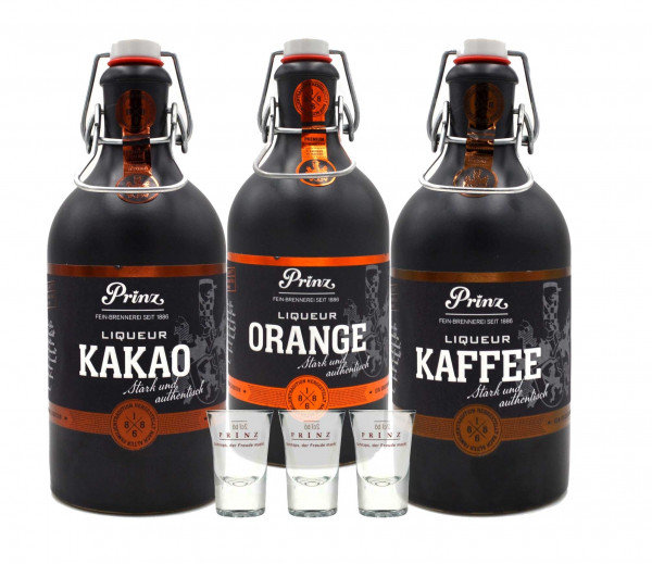 Prinz Nobilant Männer-Trio (Kaffee, Orange, Kakao) 3x0,5l + 3 Stamperl