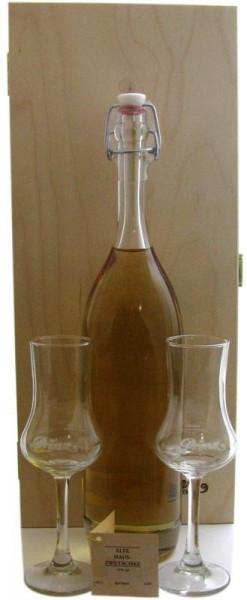Prinz Gold aus Österreich Nr.5: Holzkiste mit 1 Flasche Alte Zwetschke 0,5l mit 41% vol., im Holzfas