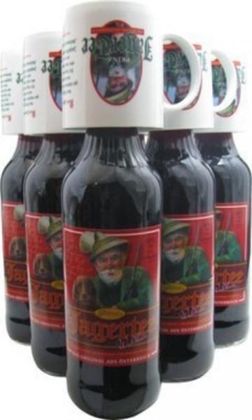 6 Flaschen Prinz Jager-Tee Waldbeere 40% vol. 1,0l + 6 Jagertee-Tassen 0,25l - Original Jagatee