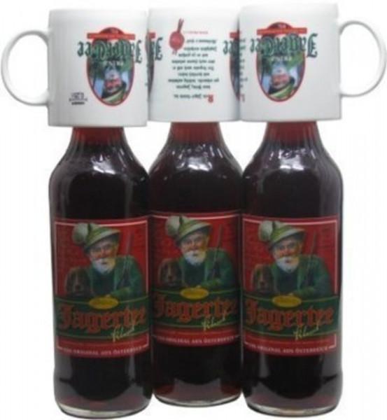 3 Flaschen Prinz Jager-Tee Kräuter 40% vol. 1,0l + 3 Jagertee-Tassen 0,25l - Original Jagatee aus Ös