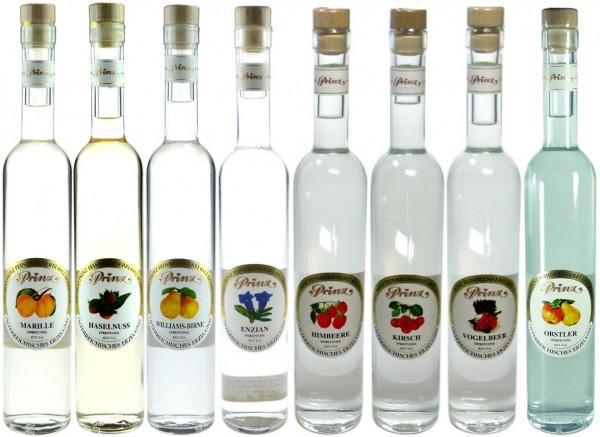 Prinz Probierpaket 3: 8 Flaschen 40%ige Schnäpse 0,5l - 5% Rabatt - aus Österreich