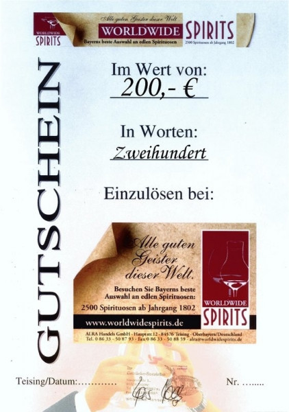 Gutschein über Euro 200,00