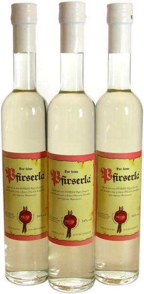 3 Flaschen Prinz Pfirserla 0,5l - feiner Pfirsichbrand aus Hörbranz in Österreich