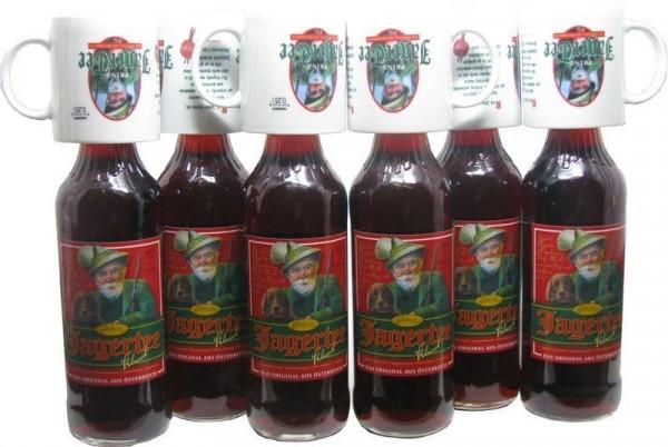 6 Flaschen Prinz Jager-Tee Kräuter 40% vol. 1,0l + 6 Jagertee-Tassen 0,25l - Original Jagatee