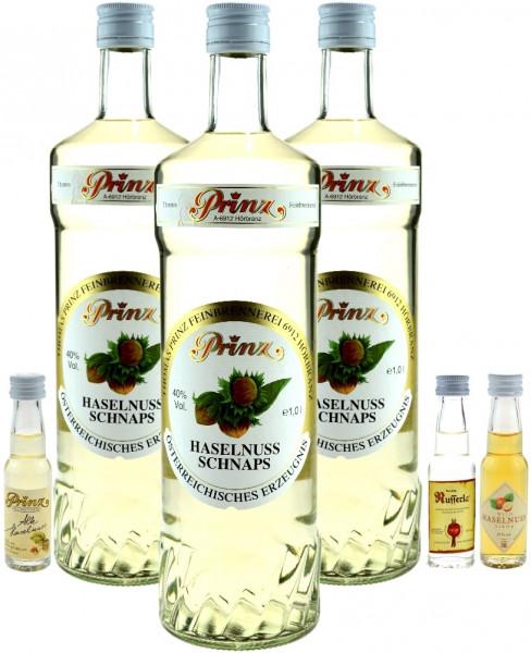 3 Flaschen Prinz Haselnuss Schnaps 1,0l Spirituose incl. Prinz Miniaturen 0,02l alte Haselnuss, Wild