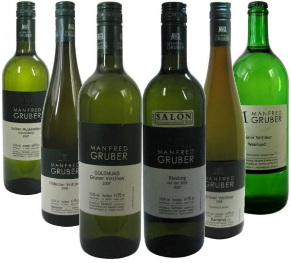Gruber Weinpaket (Gelber Muskateller, Frühroter Veltliner, Grüner Veltliner Goldmund, Riesling auf d