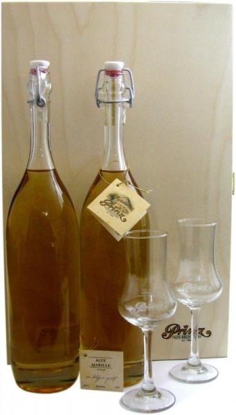 Prinz Schätze aus dem Holzfass Nr.1: 2x Alte Marille 0,5l + 2x Kelchglas und Holzkiste