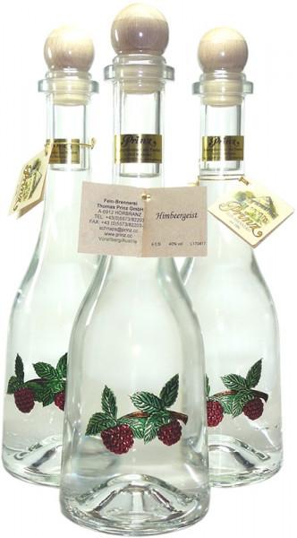 3 Flaschen Prinz Himbeergeist 0,5l - Spirituose aus Österreich in Rustikaflasche mit Himbeeren-Fruch