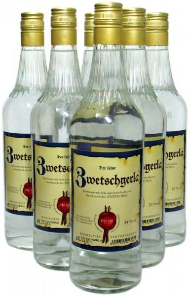 6 Flaschen Prinz Zwetschgerla 1,0l aus Österreich - im Steingut gereifter Schnaps aus Zwetschgen