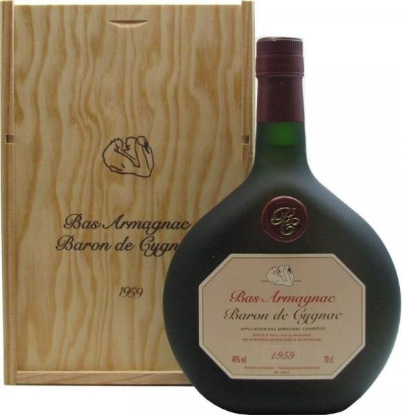 Rarität: Armagnac Baron de Cygnac Jahrgang 1959 - 0,7l incl. Holzkiste