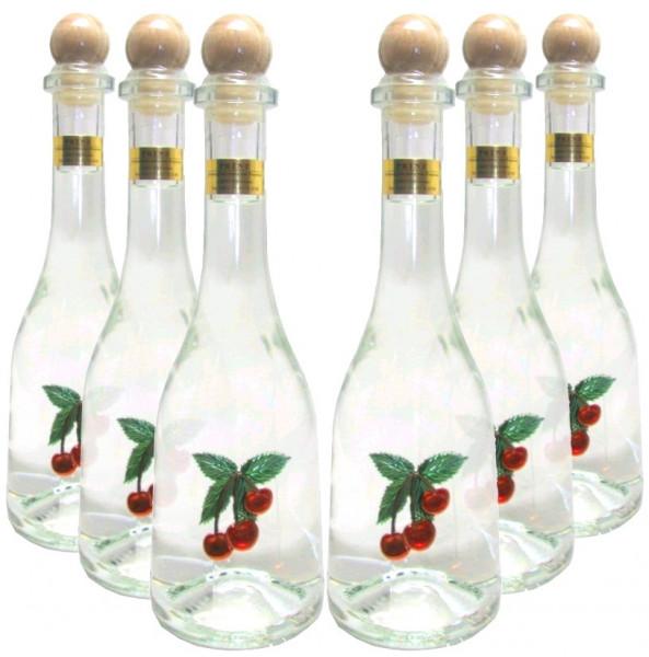 6 Flaschen Prinz Kirschwasser 0,5l - Spirituose aus Österreich in Rustikaflasche mit Kirschen-Motiv