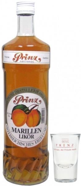Prinz Marillenlikör mit dem Saft reifer Marillen 1,0l aus Hörbranz in Österreich incl. 1 Glas